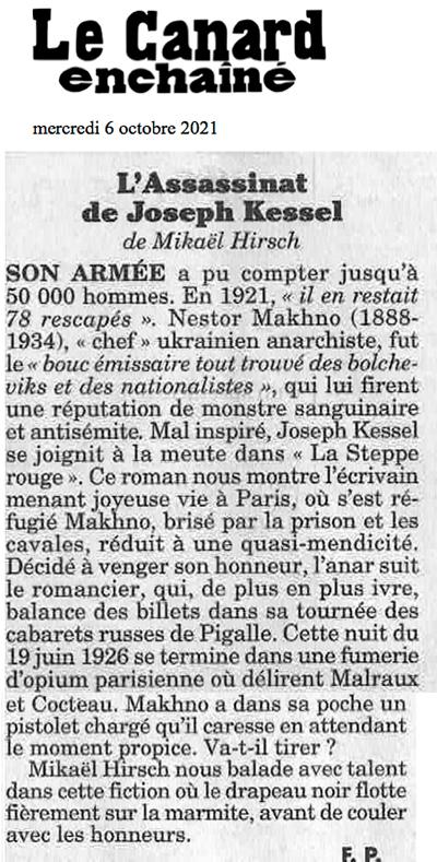 Article du Canard enchaîné du mercredi 6 octobre 2021 par Frédéric Pagès